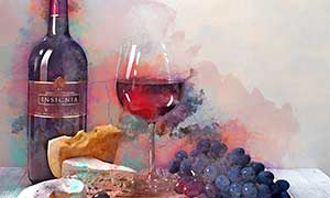 two glasses of wine painting