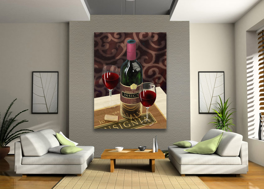wine art on wall
