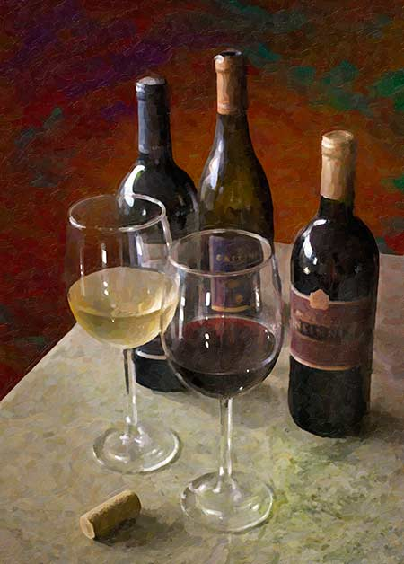 wine for two oil painting on canvas