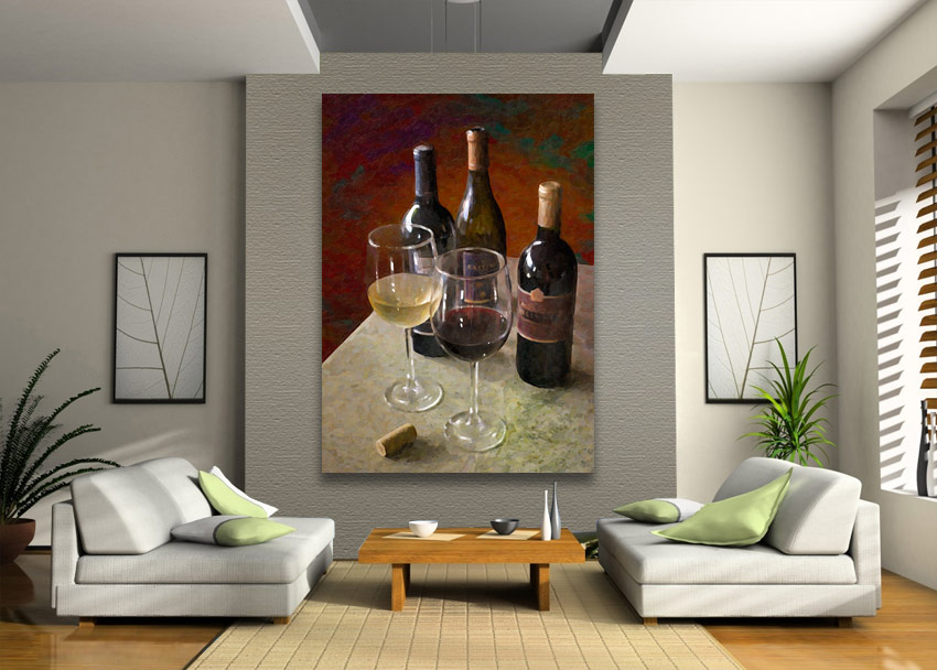 wine for two painting on wall