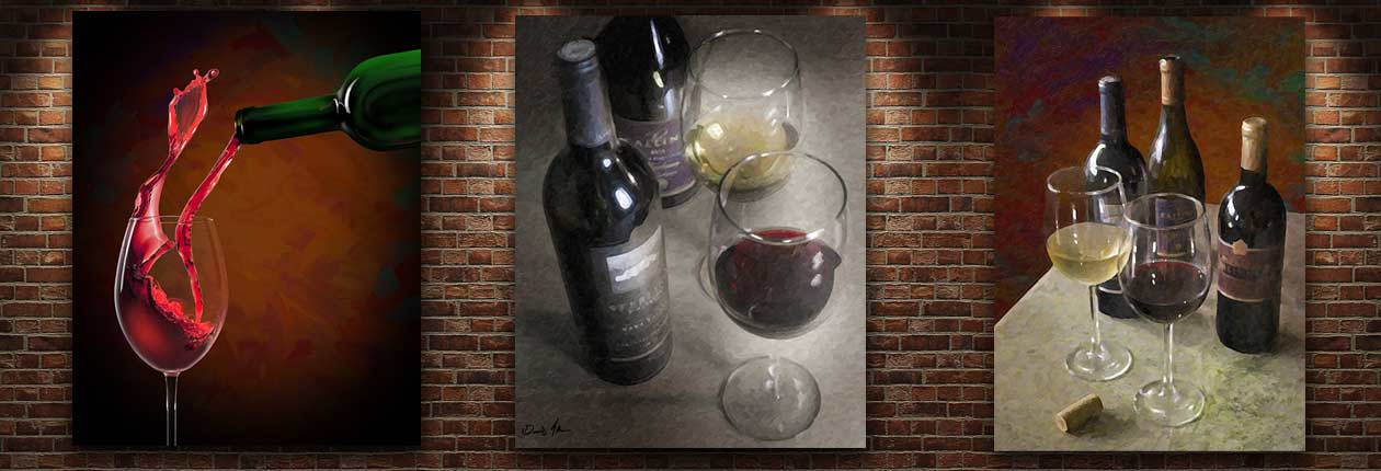 Three paintings of wine